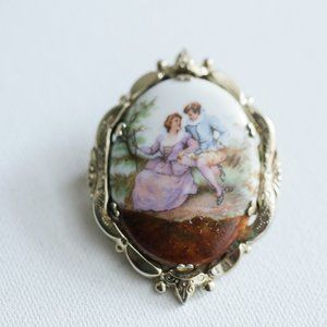 Vintage Coro Hand Painted Oval Lover Scene Brooch